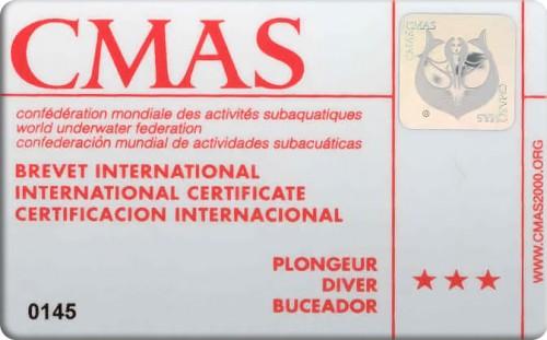 Подводник CMAS с тремя звездами